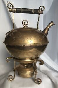 Mottahedeh Design Brass Teapot On Warming Stand Made In India