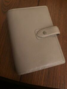 Filofax Personal Size Malden Organizer Stone Color Leather 025811 New Item