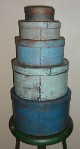 Stack Of 5 Antique Painted Pantry Boxes Shaker Firkin Sugar Bucket Blues