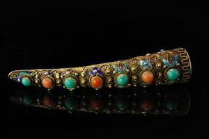 Antique Chinese Finger Nail Coral Turquoise Enamel Silver Brooch Pin A804 148