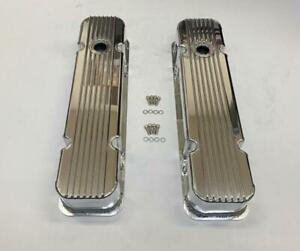Pontiac V8 326 455 Nostalgic Polished Aluminum Finned Tall Valve Covers W Hole