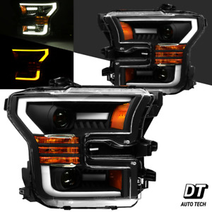 2015 2017 F 150 Led Tube Drl Switchback Matt Black Projector Headlights Assembly