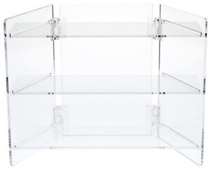 Clear Acrylic Portable Folding Three shelf Display 11 25 H X 14 5 W X 6 625 D