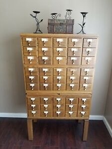 Vintage Wooden 45 Drawer Card Catalog Library Filing Cabinet Index Drawer