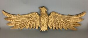 Folk Art Carved And Painted Gold Gilt Wood American Eagle Wall Sculpture 34