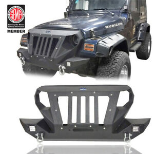 Front Bumper W D Ring Winch Plate Spotlights For 1997 2006 Jeep Wrangler Tj