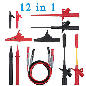 12 In 1 Electronic Multimeter Probe Test Leads Kit Universal Alligator Clip Set