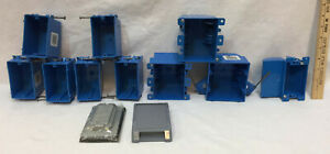 Electrical Gang Box Lot 12 Single Double Outlet Light Switch Covers Blue Plastic