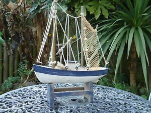 Wooden Fishing Boat Trawler With Nets On Stand Hand Made Nautical Ship Model