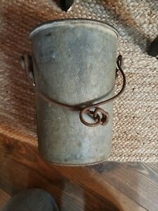 Pair Vintage Well Water Buckets Rusty Gold 10 Flower Pot Two Antique Look 2 Set