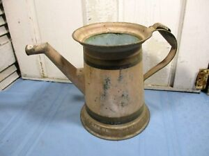 Large Vintage Tin Pitcher 11 1 2 H 15 1 2 Handle To Spout Holds Water