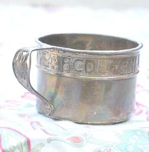 Vintage Sterling Silver Children S Cup With Alphabet 55 Gr For Scrap