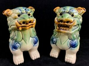 Chinese Antique Green Brown And Blue Pottery Foo Dog Statue 1 Pair