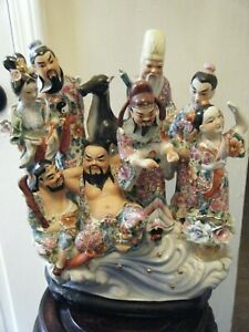 Chinese Porcelain Immortal Gods With Kwan Yin And Rider On Deer Back Statue