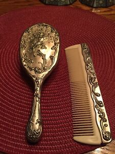 Vintage Brush Comb Vanity Set Cherubs Putti Silver Plated Unmarked