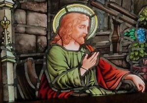 Amazing Antique Gothic Fired Stained Glass Window Jesus Teaching In Temple