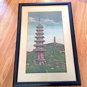 Antique Japanese Silk Needlepoint Embroidery Of Towering Pagodas