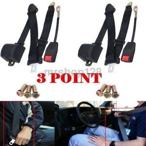 2pcs Universal 3 Point Retractable Auto Car Seat Belt Lap Shoulder Adjustable Us