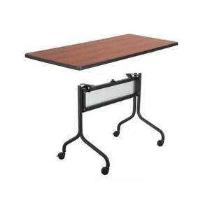 Safco Impromptu 48w Rectangle Mobile Training Table In Black With Brown Top