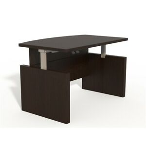 Safco Products Aberdeen Height Adjustable 72 Bow Front Desk With Base