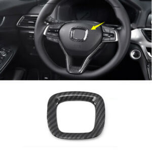 Carbon Fiber Interior Steering Wheel Logo Circle Trim For Honda Accord 2018