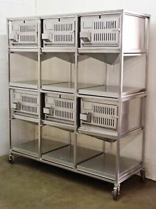Lab Products Inc Stainless Steel Modular Cage Unit 6 Cages Stainless Steel