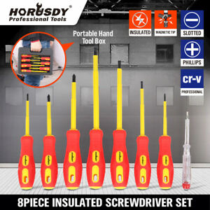 8pc Electrician s Insulated Magnetic Electrical Hand Screwdriver Tool Set New