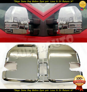 For 2017 2018 2019 Ford F250hd f350hd 2pcs Full Chrome Mirror Cover With Signal