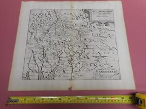 100 Original Westmorland Map By Saxton Kip C1637 Scarce