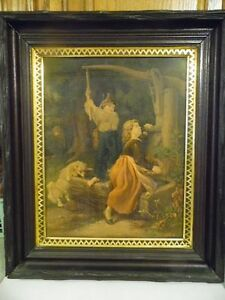 Antique 1867 L Prang Co A Friend In Need Print With Original Frame 20 X 23