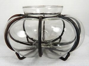 Vintage Antique Pumpkin Vase With Metal Harness Hand Blown Clear Glass