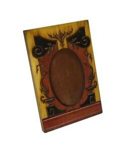 Vintage Handmade Oval Portrait Wooden Picture Frame With Carved Inlaid Face