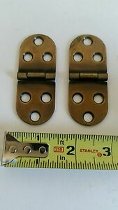 Nice Pair Of Vintage Looking Brass Plated Desk Cabinet Or Table Oval Hinges B