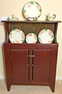 Antique Primitive Rustic Dry Sink Cabinet Storage Brownish Red Farmhouse Country