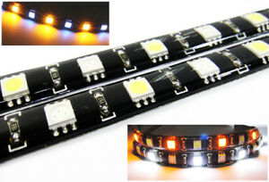 Pair Switchback 12 Smd Led Light Strip Amber White Parking Drl Light For Nissan