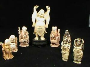 10pc Lot Vintage Resin Netsuke Carvings Buddha Immortal Japanese Wise Man L K