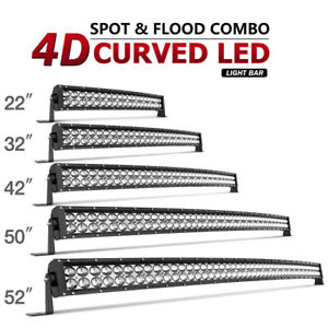 52 50 42 32 22inch Curved Led Light Bar Driving Truck Suv Boat Offroad 672w 700w