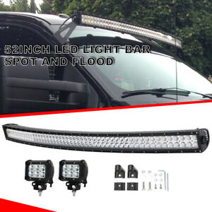 For 04 14 Ford F150 52 Inch Curved Led Light Bar Roof Front Windshield 4 Pods