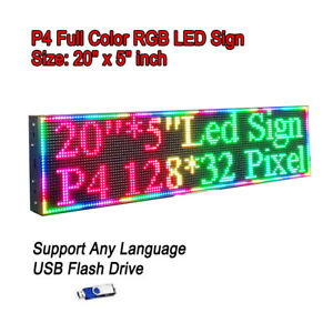 20 x 5 Rgb Full Color P4 Led Sign Programmable Scrolling Message Display
