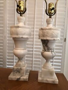 Pair Of Vintage White Marble Alabaster Lamps