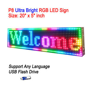 20 x 5 P8 Full Color Semi Outdoor Led Sign Programmable Scrolling Message Board