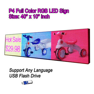40 x 10 P4 Full Color Video Hd Led Sign Programmable Scrolling Message Display