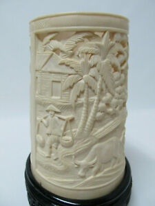 Antique Vintage Chinese Carved Figure War Design Brush Pot W Wood Stand 8 5