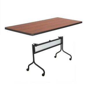 Safco Impromptu 72w Rectangle Mobile Training Table In Black With Brown Top
