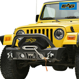 Eag Led Front Bumper W Colored Light Frames For 87 06 Jeep Wrangler Tj Yj