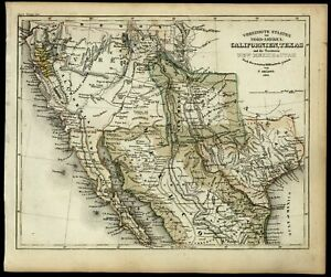 California Gold Region Texas Territorial Shape New Mexico Utah 1852 Meyer Map