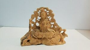 Chinese Antique Vintage Guan Yin Buddha Carved Wood Figure Live Edges