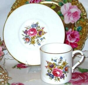 Vintage Royal Worcester Pink Rose Bouquet Demi Bone China Coffee Teacup