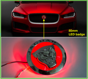 Jaguar Front Grille Led Emblem Badge For Xfl Xel Xe f pace 85mm Red New