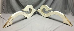 Pair Antique Wood Corbels Porch Brackets Shabby Vintage Old Chic 289 19c
